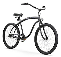 Firmstrong Bruiser Man Beach Cruiser Bike, Black, with thick top tube design and elongated frame.