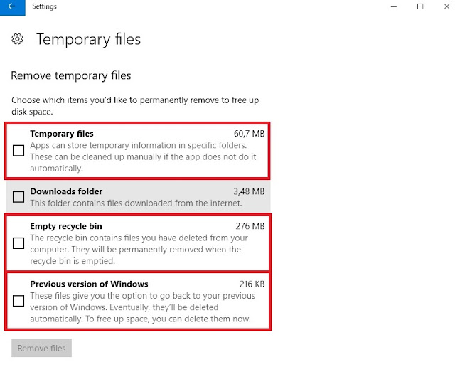 Settings Storage Temporary Files Remove Windows 10