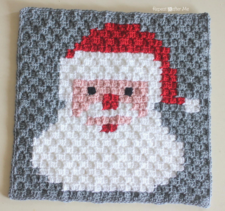 Crochet Pattern For C2c Afghan : Crochet Santa Pixel Square - Repeat Crafter Me