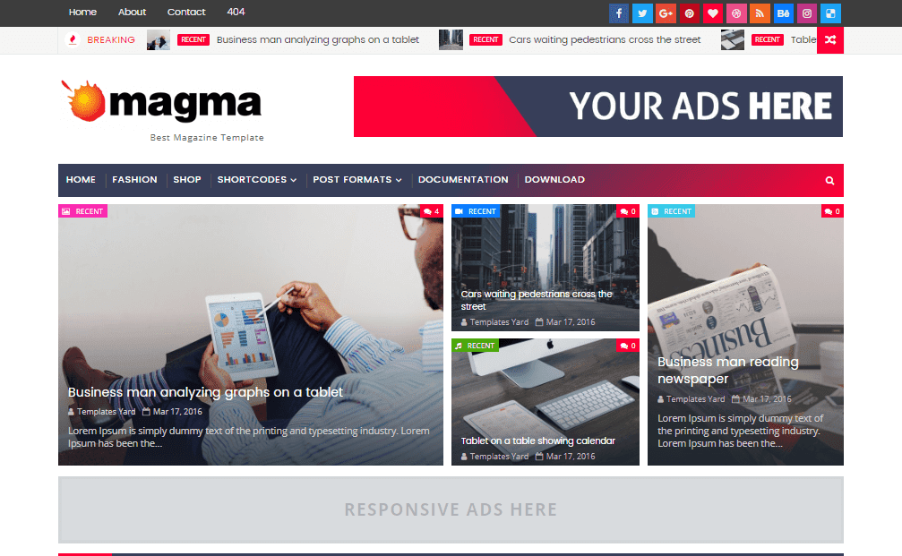 Magma Magazine Blogger Template | Blogger Templates Gallery