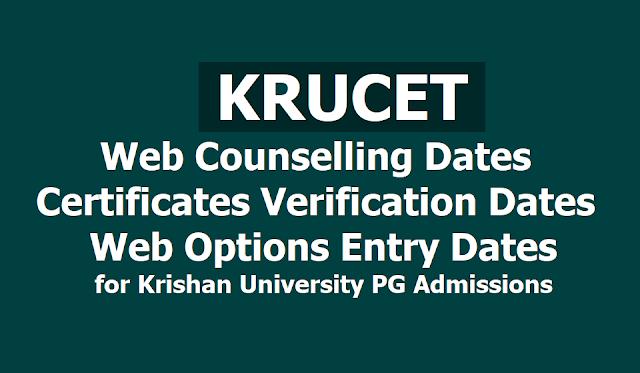 KRUCET 2019 Web Counselling, Certificates Verification Dates, Web Options Entry dates