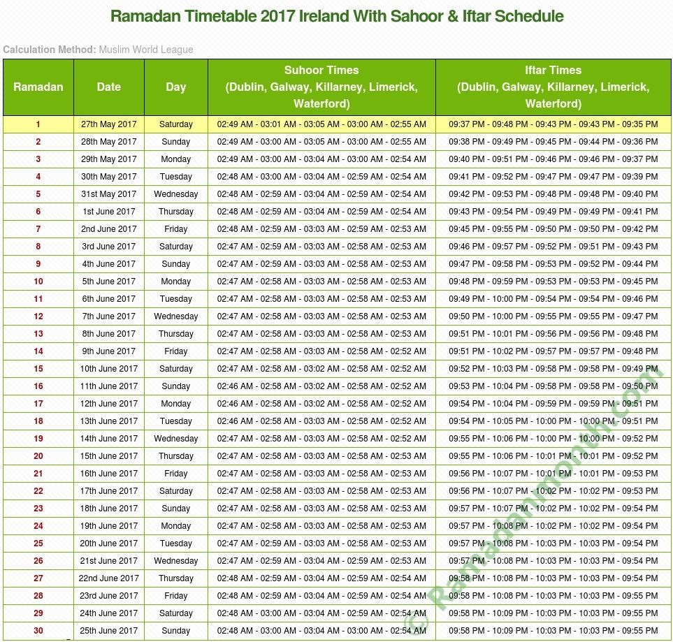 Ramadan Calendar 2017 Ireland