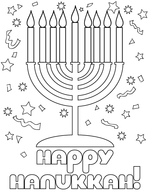 Seasonal Coloring Sheets: Hanukkah Season Coloring Pages
