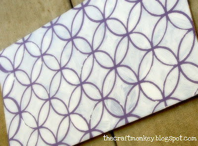 Stenciled wood- purple and white