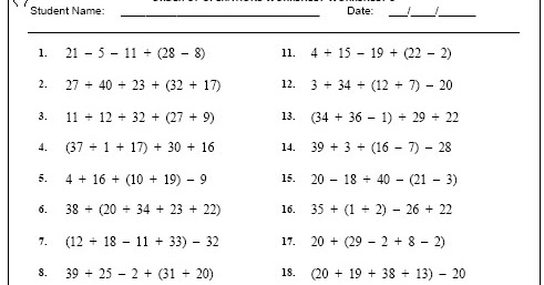 Grade 4 Maths Order Order Of Operations Worksheet-3 ~ Free