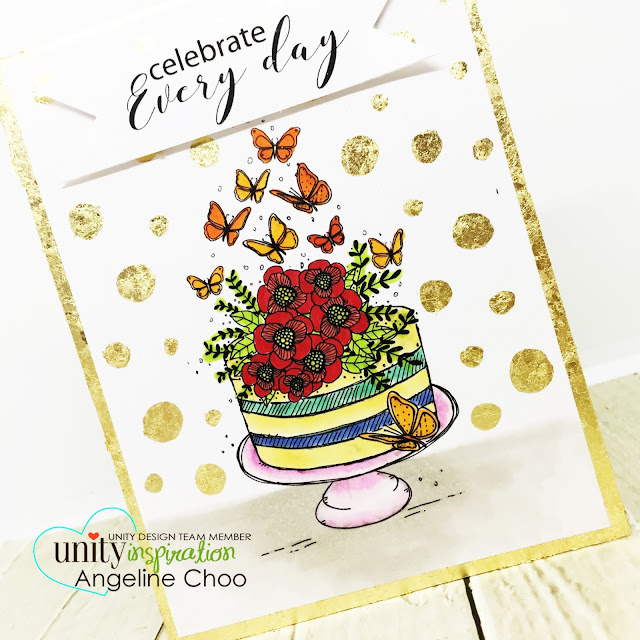 ScrappyScrappy: Unity Stamp's 10th Birthday Party - Blissful Birthday #scrappyscrappy #unitystampco #card #cardmaking #stamp #stamping #craft #crafting #scrapbook #quicktipvideo #youtube #video #papercraft #copicmarkers #birthdayparty #birthdaycard #tonicstudios #nuvogildingflakes #gildingflakes #foiling #birthdaycake