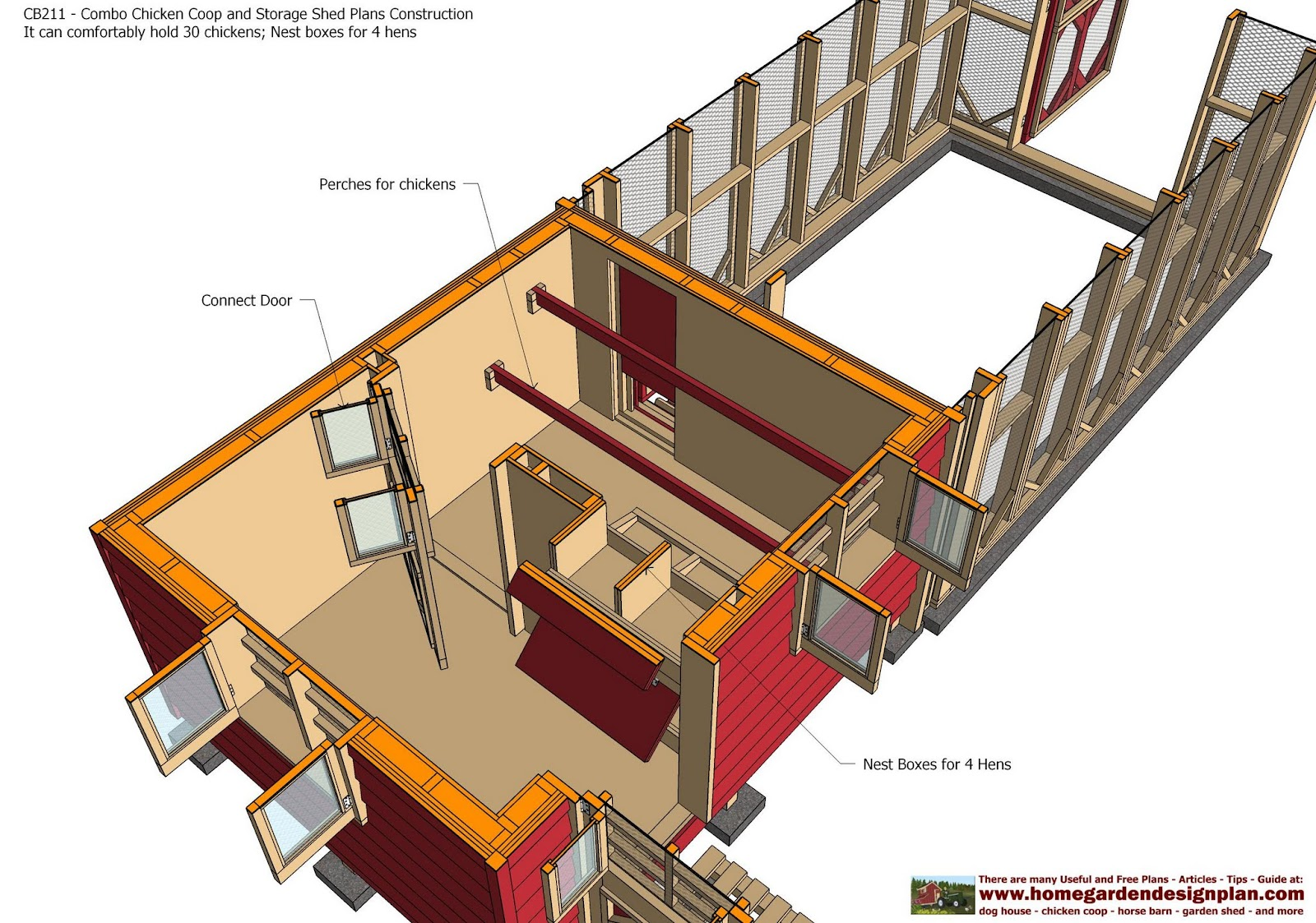 Home garden plans cb211 combo chicken coop garden shed for Shed and playhouse combo plans