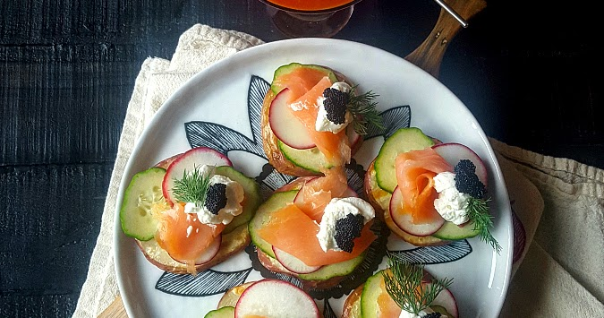 Quick Dinner Or Fancy Appetizer: Grilled Potatoes With Smoked Salmon & Black Caviar