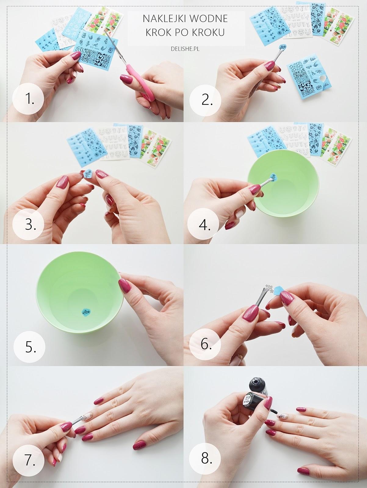 jak przykleić naklejki wodne na paznokcie krok po kroku