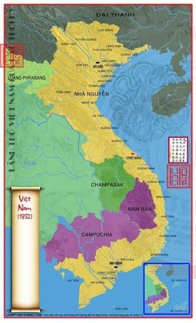 Bản đồ Việt Nam thời nhà Nguyễn sau khi sáp nhập vùng đất từ Lào