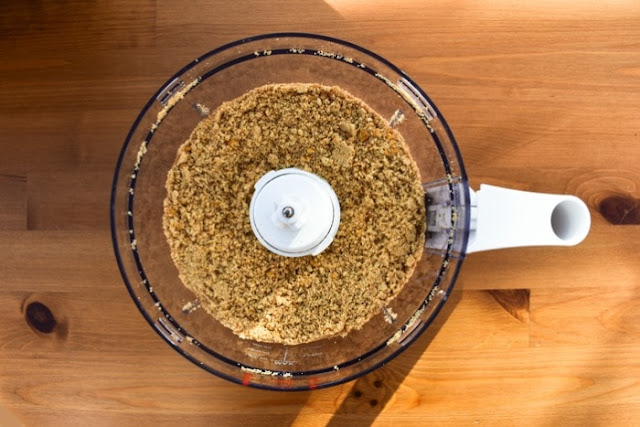 biscuit crumb mixture in food processor