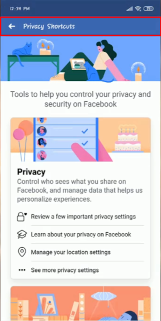 Facebook Marketplace Privacy Shortcuts - Android