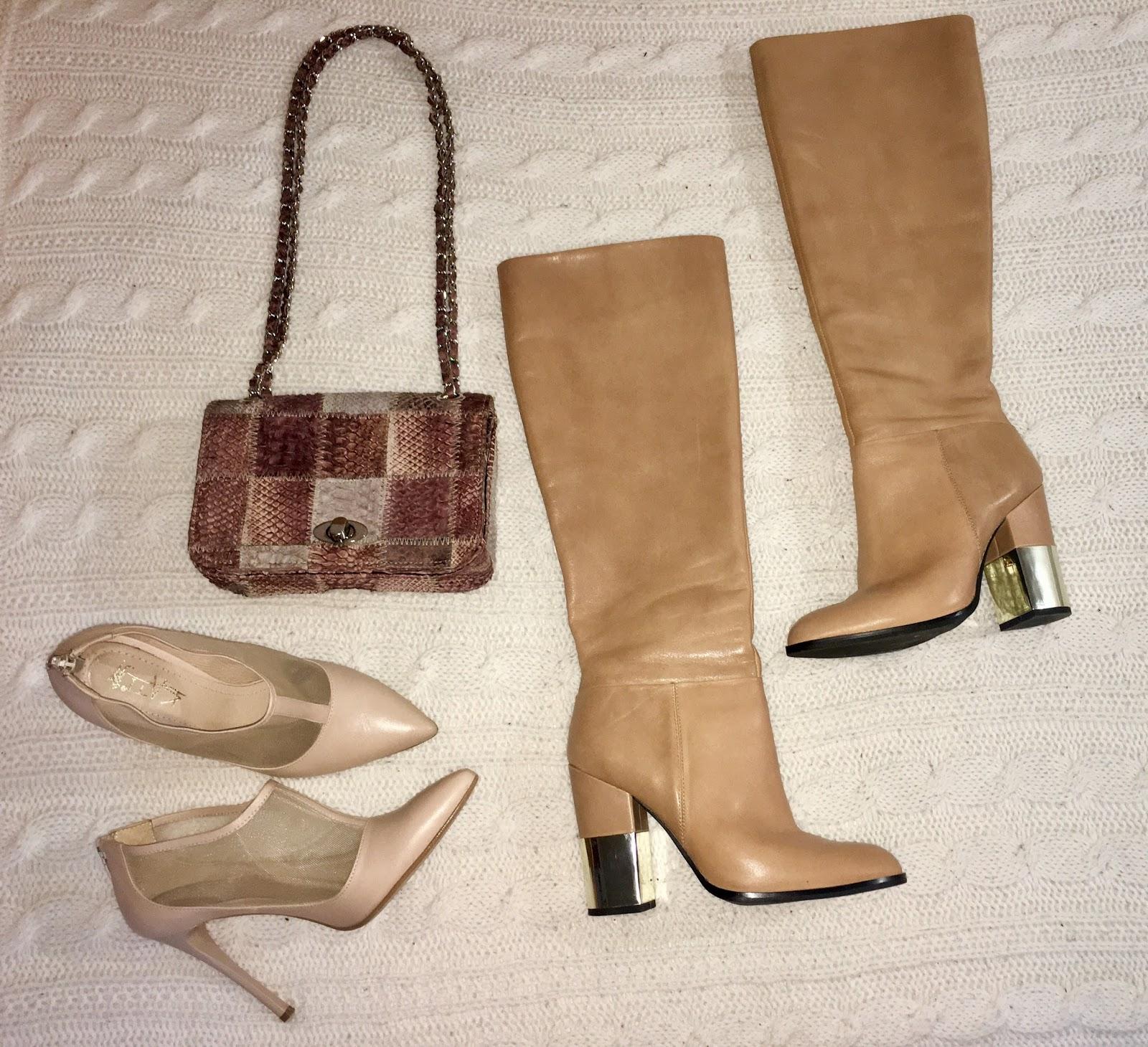 6186a0a3a438 Kožené lodičky KATI- kúpené v obuvi Xandra- 70€ Kožené čižmy ALDO- kúpené v  zľave- 80€ Kabelka z hadej kože pytóna