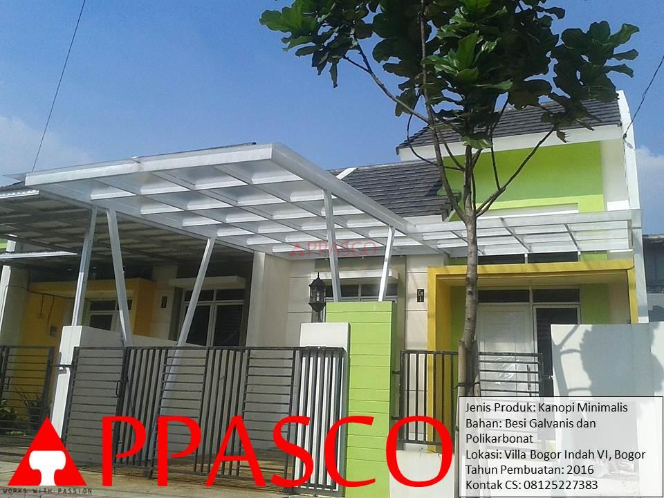 Kanopi Minimalis Polikarbonat di Villa Bogor Indah