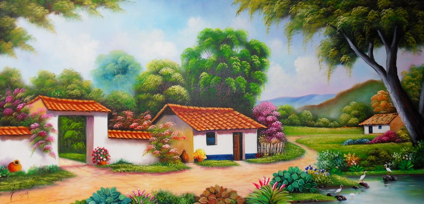 Cuadros modernos pinturas y dibujos los mejores paisajes - Cuadros de casas de campo ...