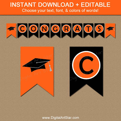 Printable graduation banner template in orange & black for the class of 2016