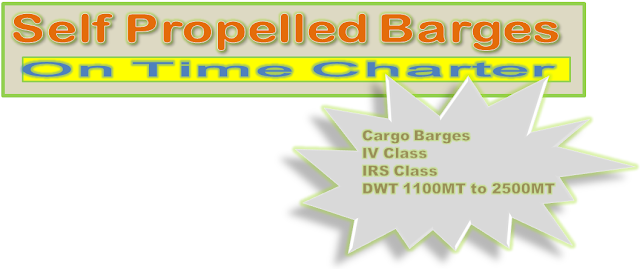 Self Propelled Cargo barges available on time charter