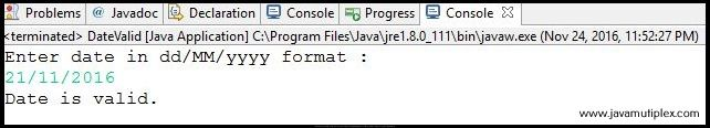 Output of Java program check whether given date is valid or not - case 1
