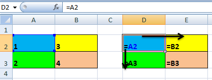 display formula referensi sel relative
