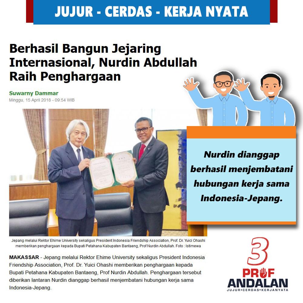 Berhasil Bangun Jejaring Internasional, Nurdin Abdullah Raih Penghargaan