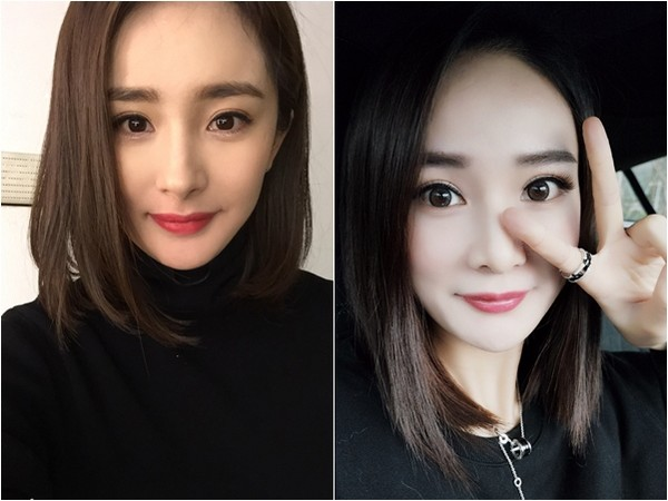 China actress Yang Mi and her stunt double Zhou Henyu