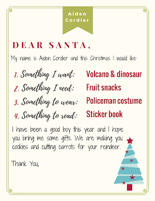 letter to Santa on Cordier letterhead