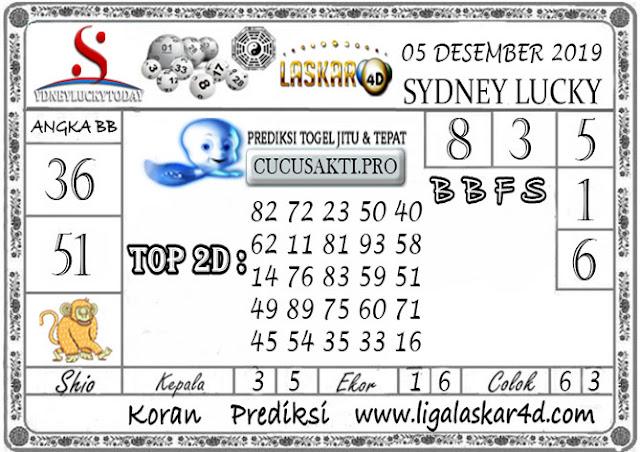 Prediksi Sydney Lucky Today LASKAR4D 05 DESEMBER 2019