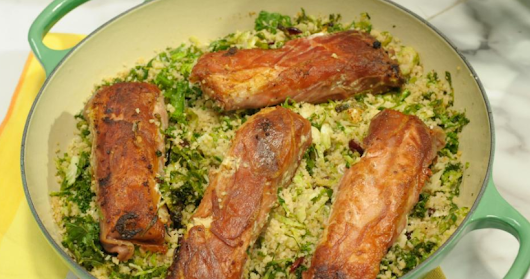 Prosciutto-Wrapped Halibut with Brussels Sprouts and Kale Couscous