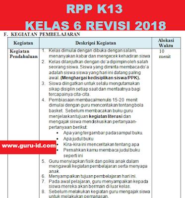 gambar rpp pjok revisi 2018 kelas 6