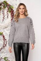 Pulover SunShine gri scurt elegant din lana cu croi larg cu aplicatii cu perle
