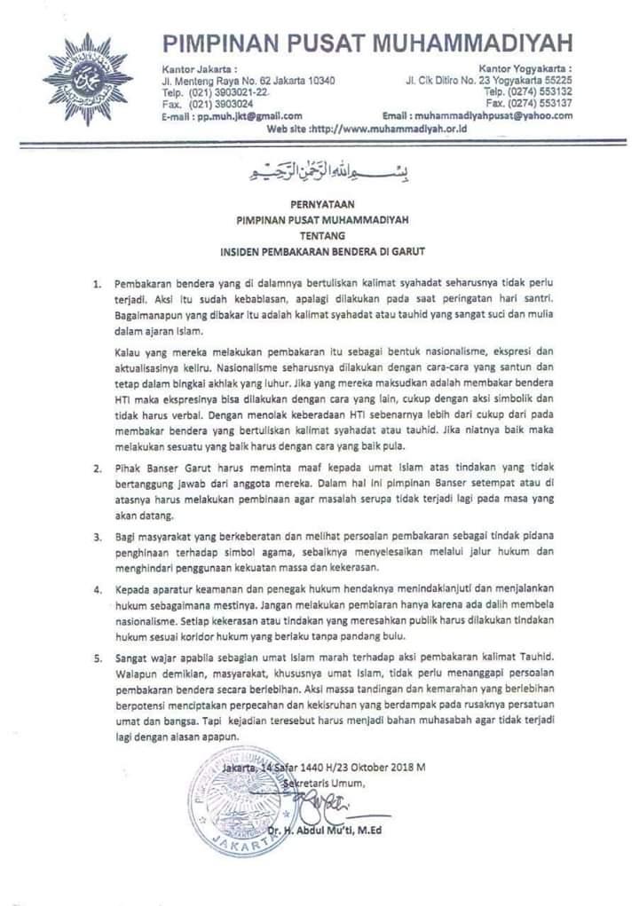 Teguh Bersama Ummat, Muhammadiyah Suarakan Ini Terkait Pembakaran Bendera Tauhid
