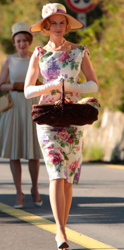 Grace Kelly (Nicole Kidman), vestido, filme Grace de Monaco, figurino