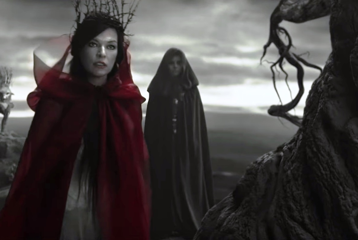 Jovovich is on a roll trying to explain that Nimue - who centuries ago was cut up into parts and buried alive, and is now being resurrected so she can exact her revenge - is not a villain and why she tries to seduce Hellboy over to her side.
