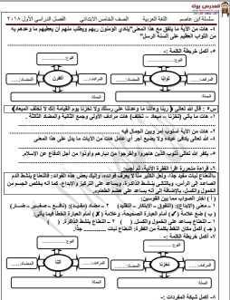 مذكرة عربي خامسة ابتدائي ترم اول 2018 ابن عاصم