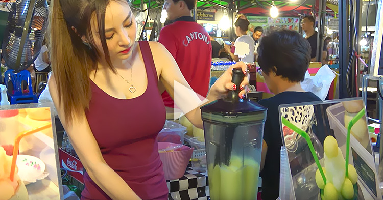 Popular Girl Vendor from Thailand demonstrates how to make a Melon Smoothie