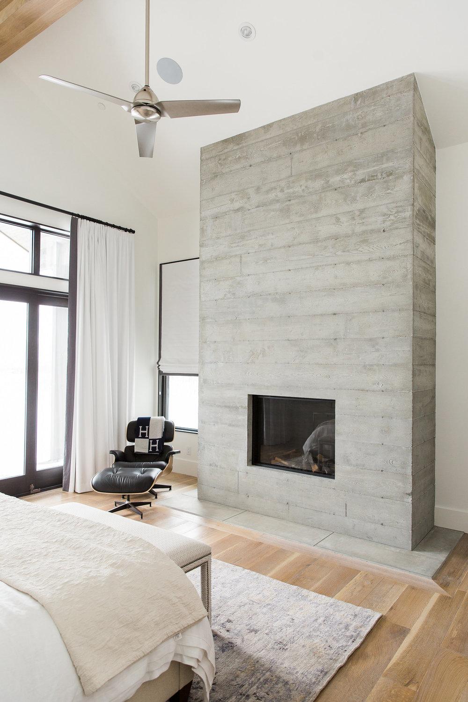Modern minimal fireplace in bedroom with urban minimal interior design room
