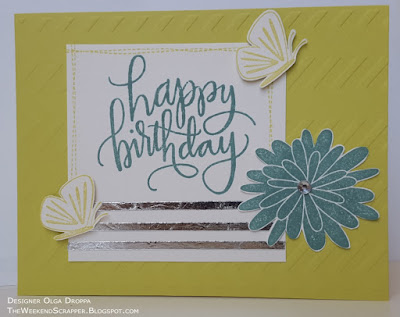 Handmade card teal and green color combo for CTD386 using Simon Says Scripty Greetings, SU Pretty Amazing stamps and foiling