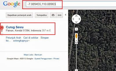 curug sewu, googlemap, curug sewu kendal