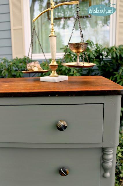 rock geode mineral style knobs hardware dresser pulls diy painted furniture makeover
