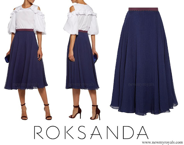 Crown Princess Mary wore ROKSANDA Colvin ruffle seersucker-chiffon midi skirt