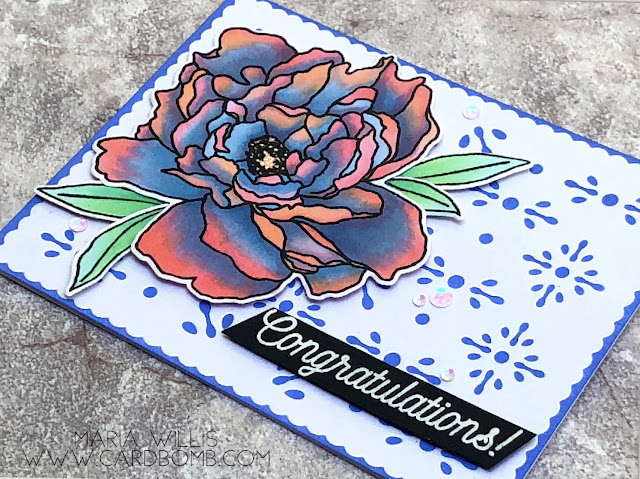 #mariawillis, #cardbomb, #cards, #stamp, #ink, #paper, #paper-garden, #papercraft, #cardmaking, #heroarts, #copics, #copicmarkers #flower, #congratulations
