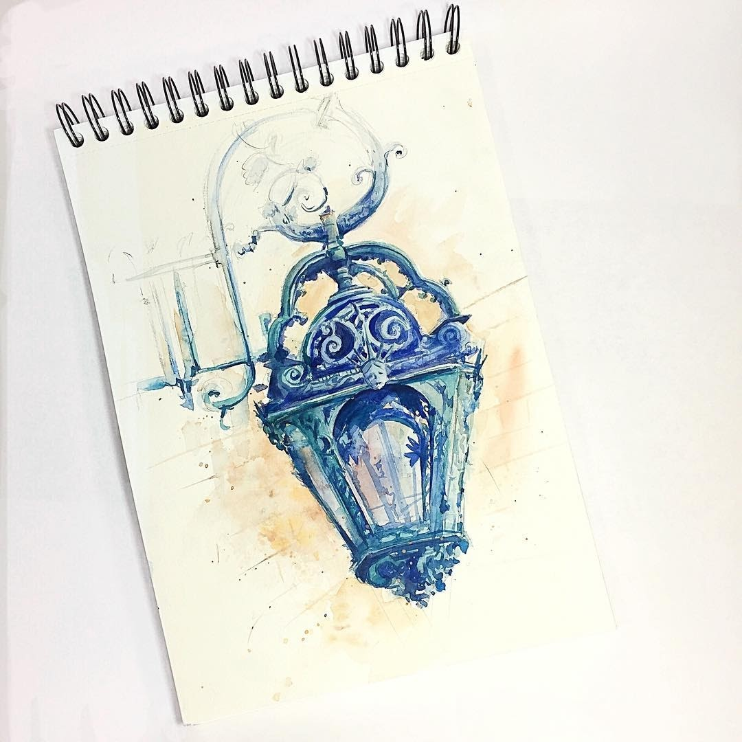 09-Street-Lamp-Alena-Ponkratova-Street-Lamps-Oil-Lamps-and-Candle-Light-Lamps-Watercolors