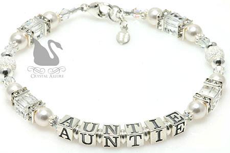 Sparkling Crystal Pearl Auntie Bracelet (B187)