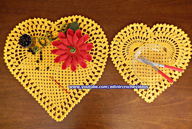 como fazer tapete de croche coração como fazer americano de croche coração