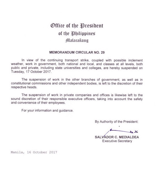 Palace suspends classes, gov't work on Tuesday, October 17, 2017
