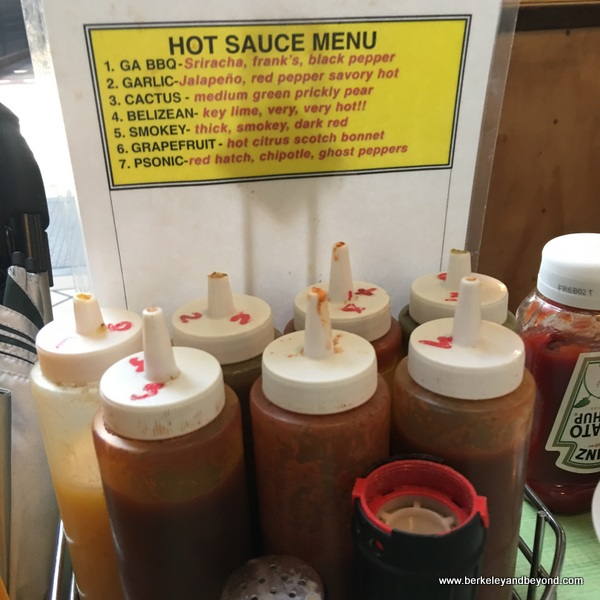 hot sauce selection at Shopsin's in NYC