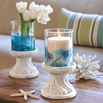 stone candle holder with glass container