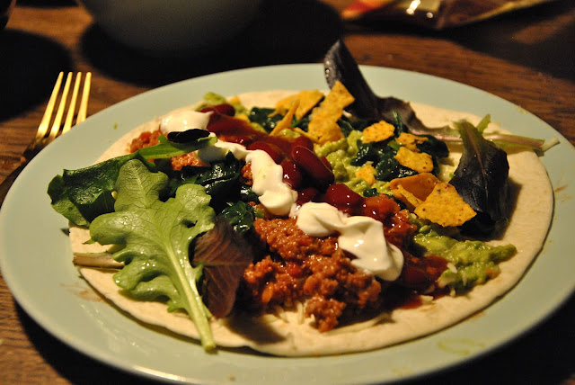 Die Füllung des Vegetarischen Burritos