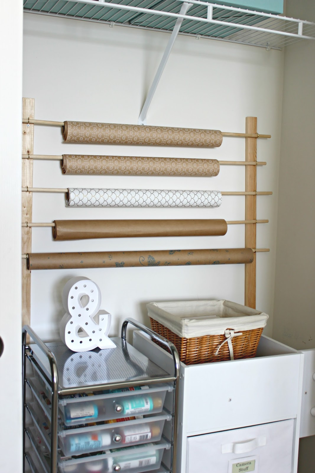 gift wrap storage idea