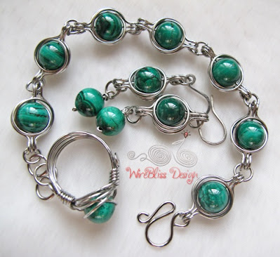 Twice Around the World (TAW) wire wrapped necklace, earrings and ring set with Malachite